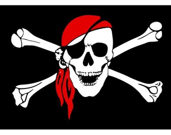 Pirate Flag Vinyl Decal Car Window Bumper Sticker Yeti Tumbler Laptop Cell Phone 2 Available 00045