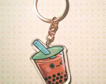 "Boba Bubble Tea Double Sided Clear Acrylic Charm 1.5"" x 2"" Gold Keychain"