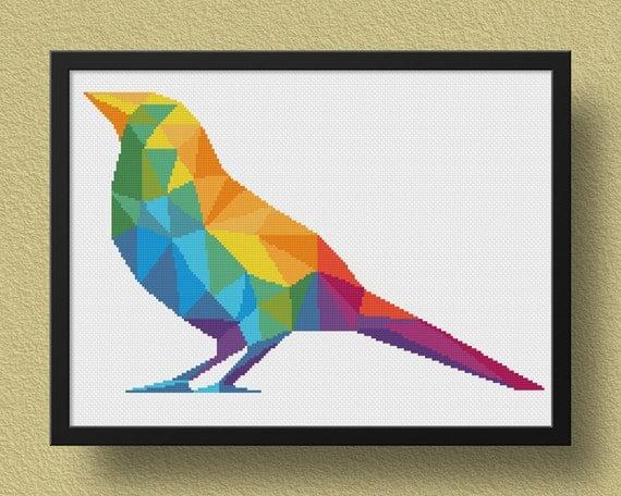 Geometric bird cross stitch pattern animal xstitch