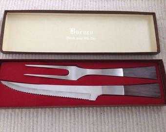 BURNCO Mid Century Modern Steak and Rib Knife and Fork Serving Set~Original Box