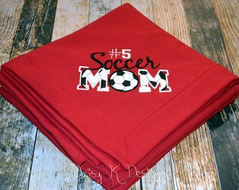 Personalized Sports Mom Sweatshirt Blanket - Choose Your Sport - Soccer, Football, Cheer, Baseball, Lacrosse, Cross Country, Hockey