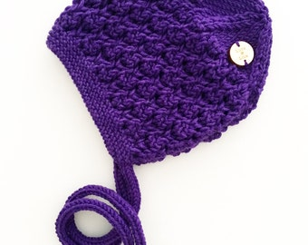 SALE Hand knitted baby bonnet