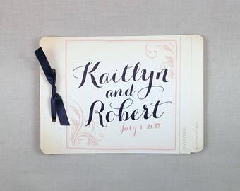 Vintage Flourish Navy and Blush Pink Wedding Invitation Booklet 3pg Livret with Navy Satin Ribbon- TE1