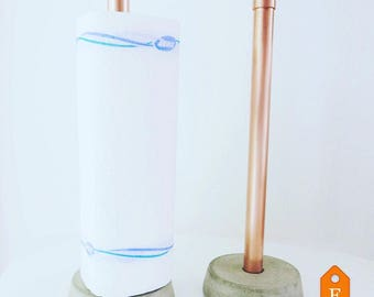 Kitchen roll holder made of copper and concrete