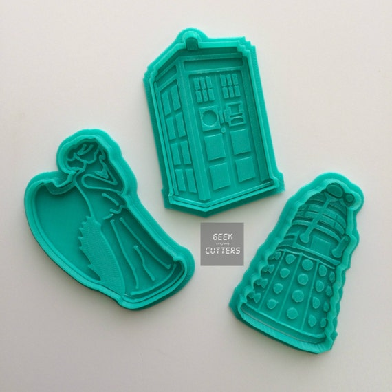 Doctor Who Collection Set Cookie Cutter - Fondant, Backing Mold, 3d printed, Cookiecutter
