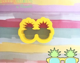 Pineapple Sunglasses - Sand - Beach - Vacations - Sunny - Cookie Cutter - Summer - Decorated Cookies - Periwinkles - Gift - Cute - 3DPrint