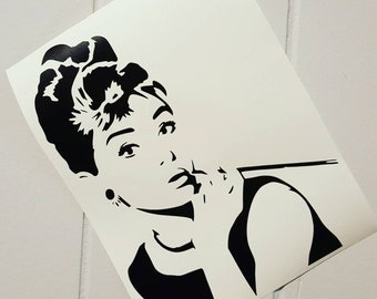 Audrey Hepburn Car Decal Audrey Hepburn Decal Audrey Hepburn Sticker Breakfast at Tiffany's Breakfast at Tiffany's Decal Holly Golightly