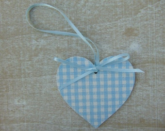 Gingham Style Blue Heart