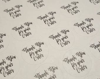 """Thank You for Your Order, Thank You Sticker, Packaging Sticker, Thank you round sticker, 2.5"""" circle sticker, Business Sticker"""