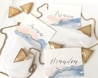 Watercolor Place cards with Embossing