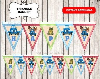 Little Blue Truck banner instant download , Little Blue Truck triangle banner, Printable Little Blue Truck banner