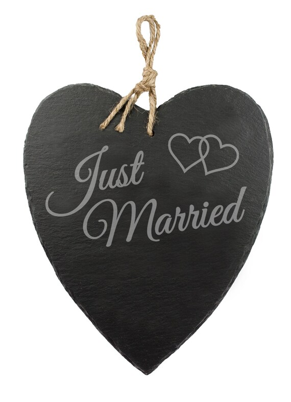 Slate Heart - Beautifully Engraved - Just Married - Door Sign With Jute Hanger - Wedding Gift