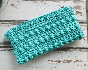 Lined Crochet Clutch--Aqua