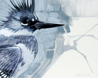 Belted Kingfisher on linen