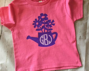 Monogrammed Flower Pot Shirt, Toddlers Shirt, Toddler Girls Shirt, Kids Shirt, Girls Shirt