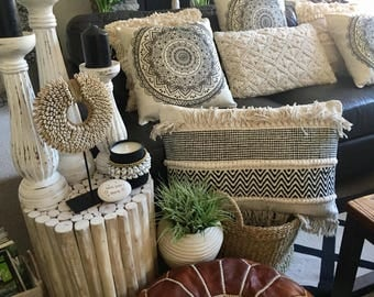 Boho Luxe Black & Cream Woven Texture Lumber Cushion with Tassels