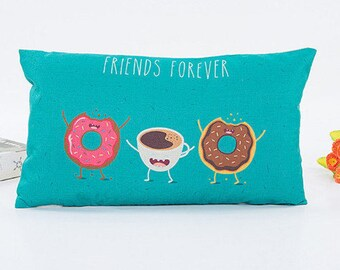 Cute linen pillow cover with donats and coffee