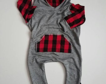 Perfectly plaid hooded romper (customizable color)