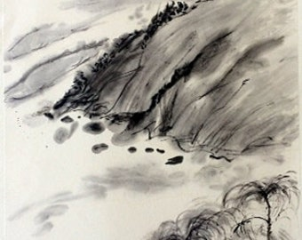 Traditional Chinese Landscape Painting Chinese Brush Painting Chinese Ink Painting Asian Painting Ink Art-Mountain and River Painting