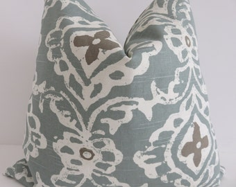 Aqua pillow cover, Aqua brown Pillow, Pillow, Pillow cover, Ikat aqua Pillow, Ikat pillow cover