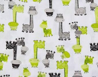 Giraffe Fabric, Baby Animals Nursery Fabric, Jungle Fabric, Safari Fabric, Lime Green Fabric, Zoo Animal Fabric, Gray Giraffe Nursery