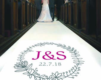Personalised Wedding Aisle Runner with Initials and Ceremony Date. Perfect Wedding Carpet Decoration
