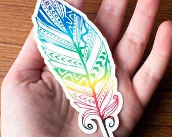 Rainbow chakra tribal feather vinyl sticker