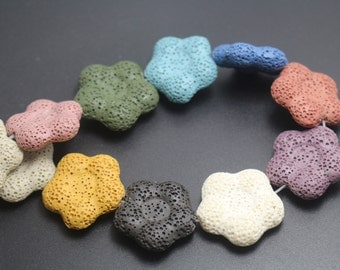 Mixcolor Flower Shape Lava Beads,Mixcolor Volcanic Rock Beads,15 inches one starand