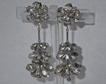 Napier Mid Century Petal Flower Clear Rhinestone Chandelier Earrings, RARE