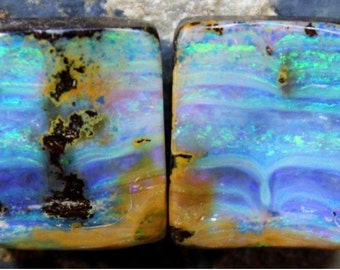 74.55 carat natural australian queensland boulder opal pair very rare