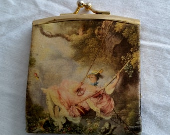 Victorian coin purse vintage change purse made in Italy woman on swing colorful flirty coin holder old coin bag change  bag antique item