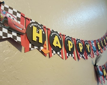 Cars Theme Happy Birthday Banner