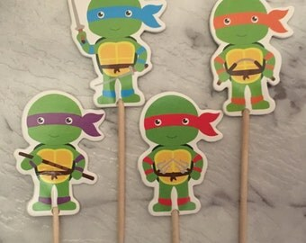 Ninja Turtles Cupcake Picks Toppers Cake Decorations Kids Novelty Birthday Party Supplies