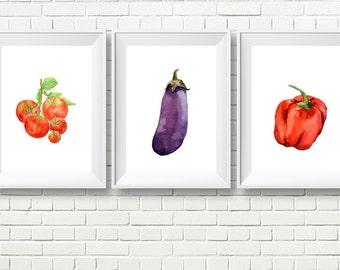 Veggie Wall Decor, Kitchen Veggie Art, Veggie Wall art, Printable Veggies, Food Art, Food wall decor, Dining room art, Kitchen art, download