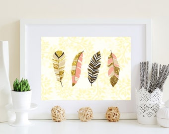 Golden Feathers Art, Gold feathers poster, pink feathers, white, gold, black, Tan feather art, Salmon color art, Gold home decor, printable