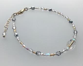 Golden Rain Brilliant Lights Glass Bracelet in Sterling Silver and Gold Filled
