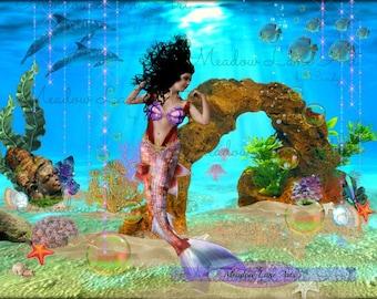 Digital Mermaid, Tropical-Scrapbooking Digital Ocean Embellishments-Instant Clip Art- Commercial Use