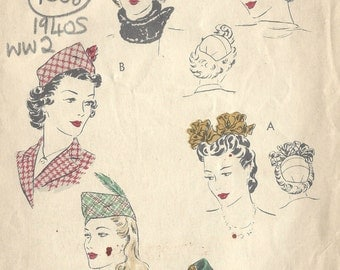 "1940s WW2 Vintage VOGUE Sewing Pattern S:21"" HATS (1358) Vogue 9203"