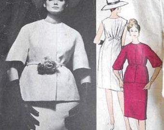 1963 Vintage VOGUE Sewing Pattern B32 JACKET & DRESS (1723R) Jacques hHim