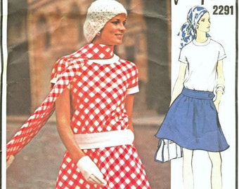 1970 Vintage VOGUE Sewing Pattern B36 DRESS (1639) By Jean Patou