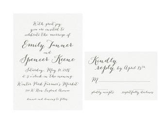 Baum: Printable Wedding Invitation Set, Made To Order, Calligraphy,  Timeless Wedding Invitation