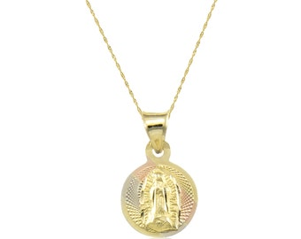 14K Solid Yellow White Rose Gold Virgin Mary Round Medal Necklace Pendant + Singapore Chain - Tricolor Lady of Guadalupe Necklace Charm