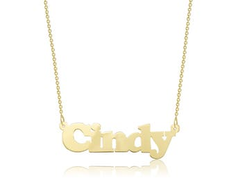 14K Solid Yellow Gold Personalized Custom Name Pendant Rolo Chain Necklace Set - Polished Alphabet Letter Charm