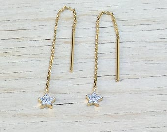 gold plated chain and earrings star cubic zirconia 18 ct 3 microns