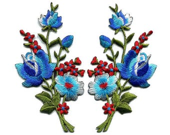 A Pair Of Beautiful Colorful Blue Rose Flower Bouquet Iron On Patches Sew On Appliques