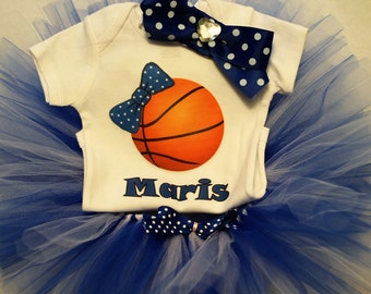 Personalized basketball bodysuit/Blue and White Tutu/Kentucky Wildcat baby outfit/Baby Girl basketball outfit