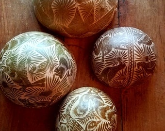 Vintage carved gourds set of 4, Mexican carved gourds, Oaxacan gourds