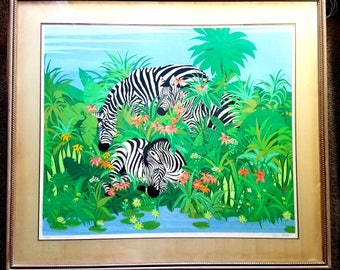 Russ Elliott Signed and Numbered Lithograph, Wild Zebras, Framed Original Art