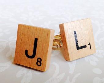 Wooden Scrabble letter cufflinks.
