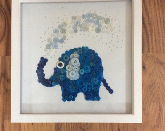 Blue elephant button art